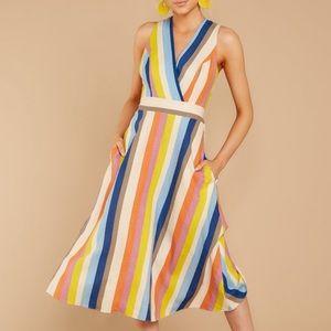 Multi-stripe midi dress